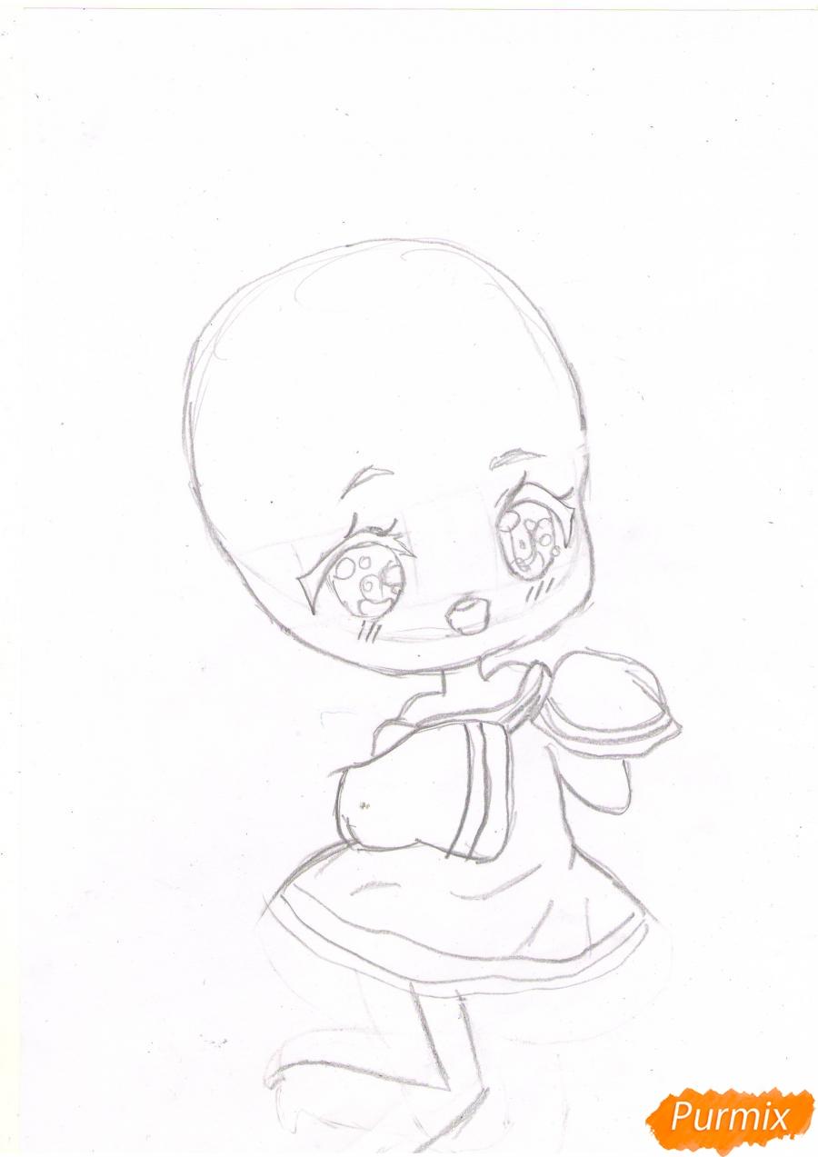 Рисуем анимешную чиби девушку с каштановыми волосами - шаг 2
