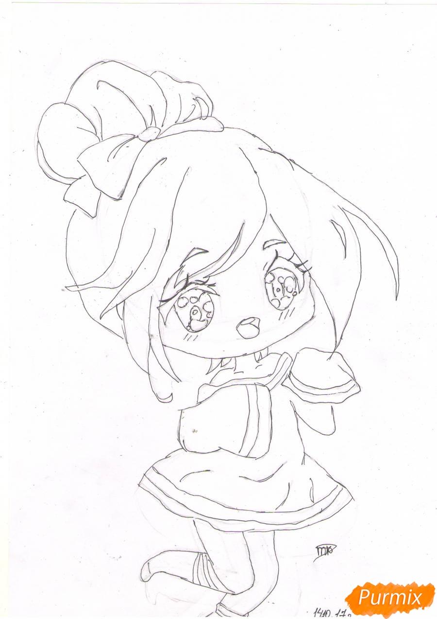 Рисуем анимешную чиби девушку с каштановыми волосами - шаг 4