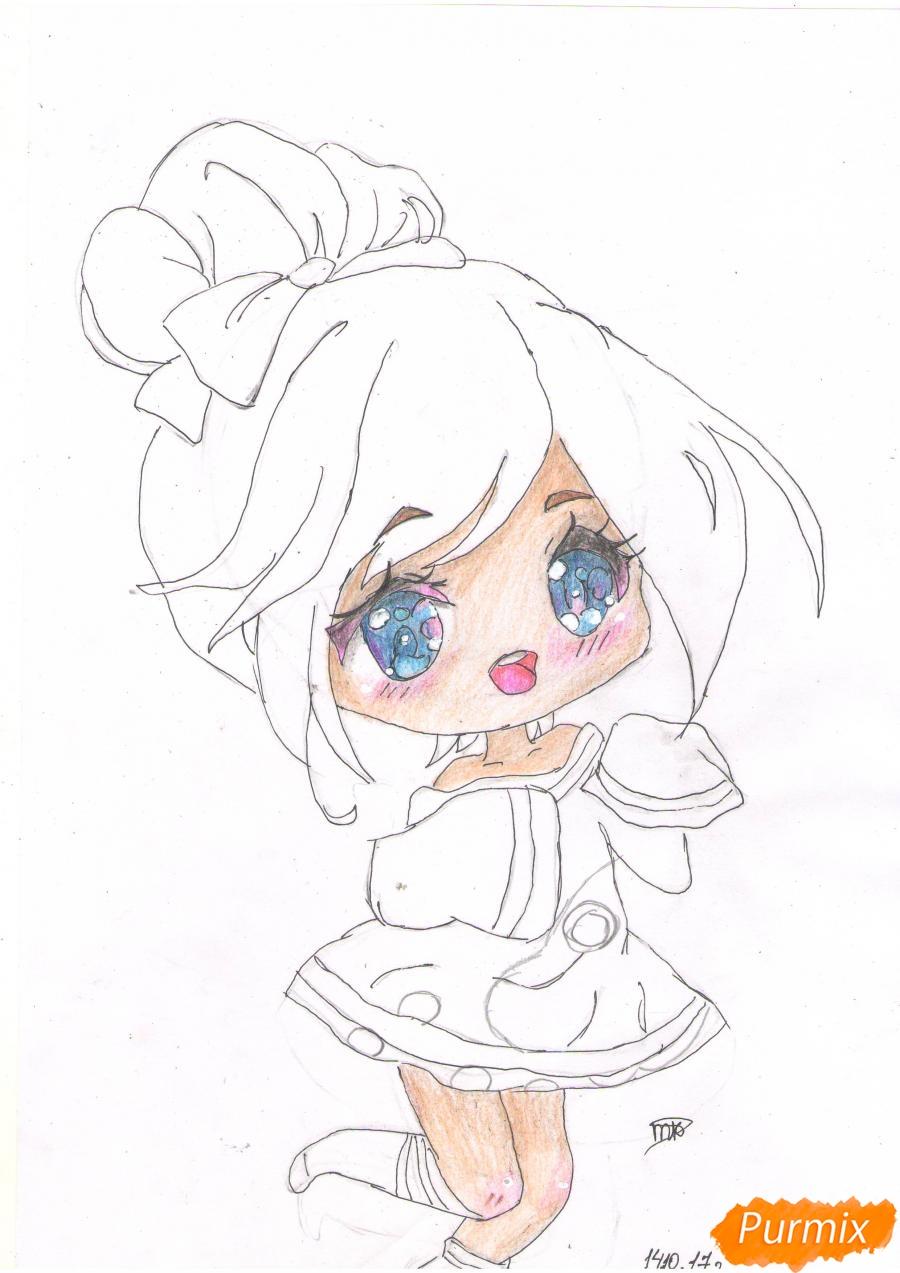 Рисуем анимешную чиби девушку с каштановыми волосами - фото 5