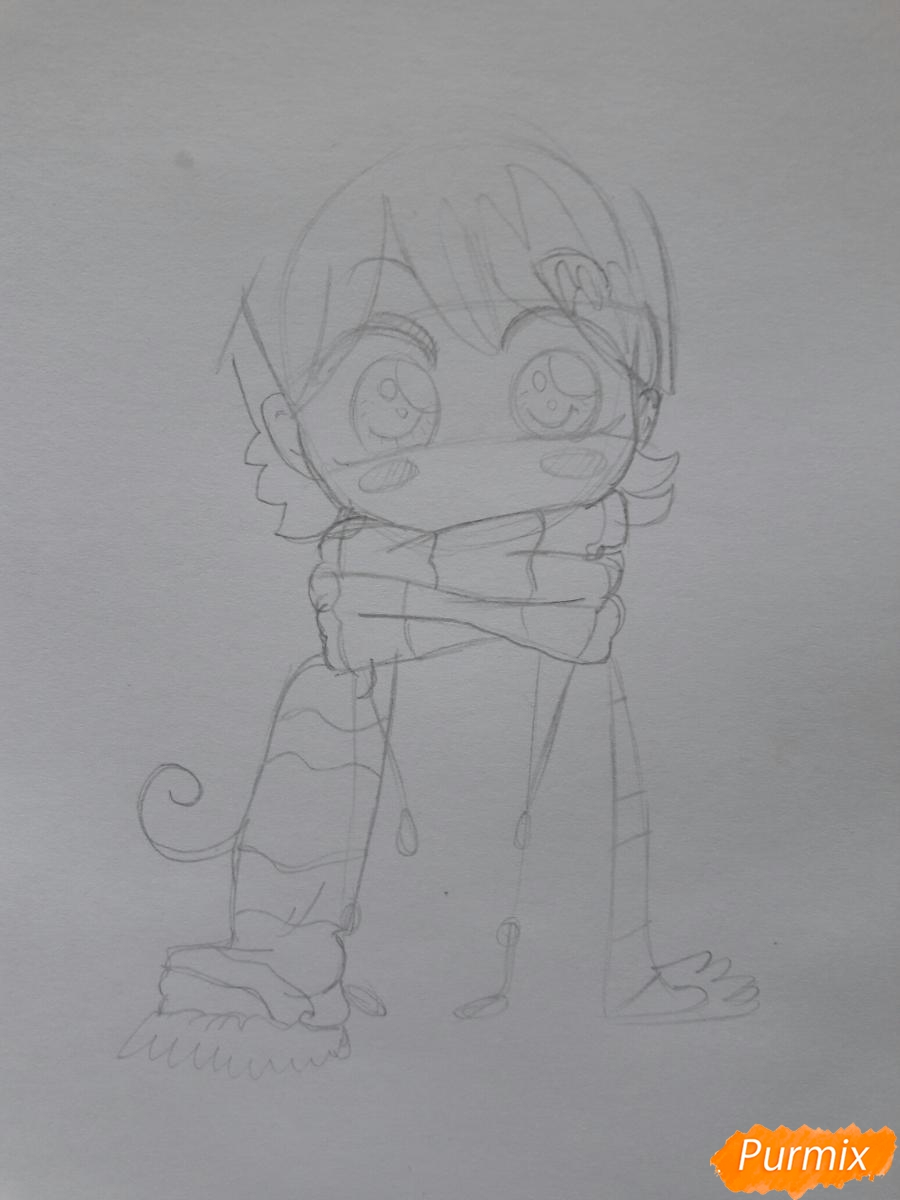 Рисуем анимешную чиби в шарфике цветными карандашами - шаг 2