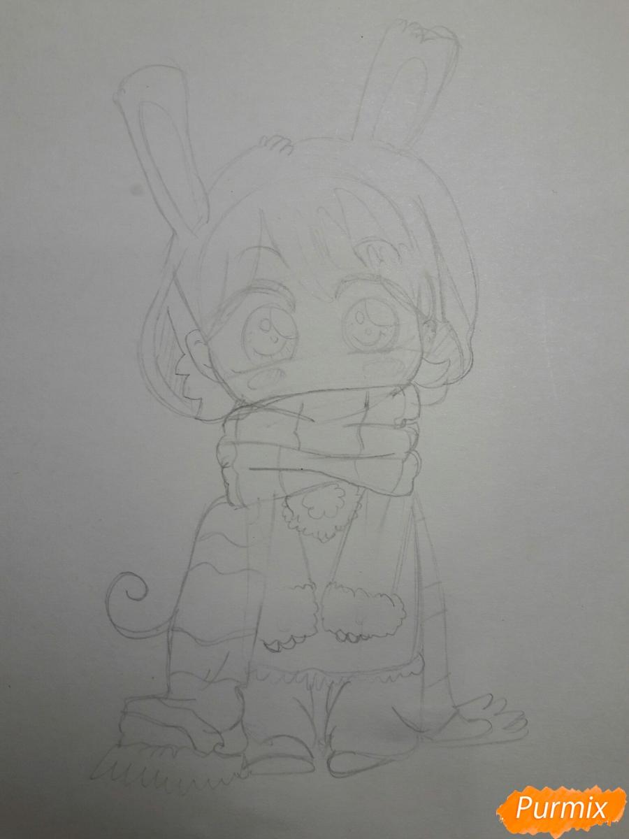 Рисуем анимешную чиби в шарфике цветными карандашами - шаг 3
