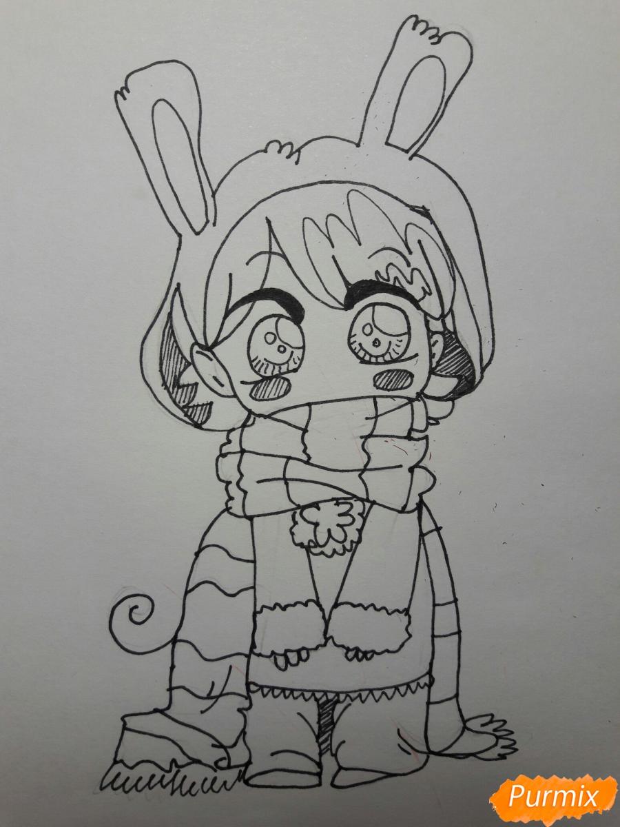 Рисуем анимешную чиби в шарфике цветными карандашами - шаг 4