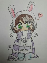 Рисунок анимешную чиби в шарфике цветными