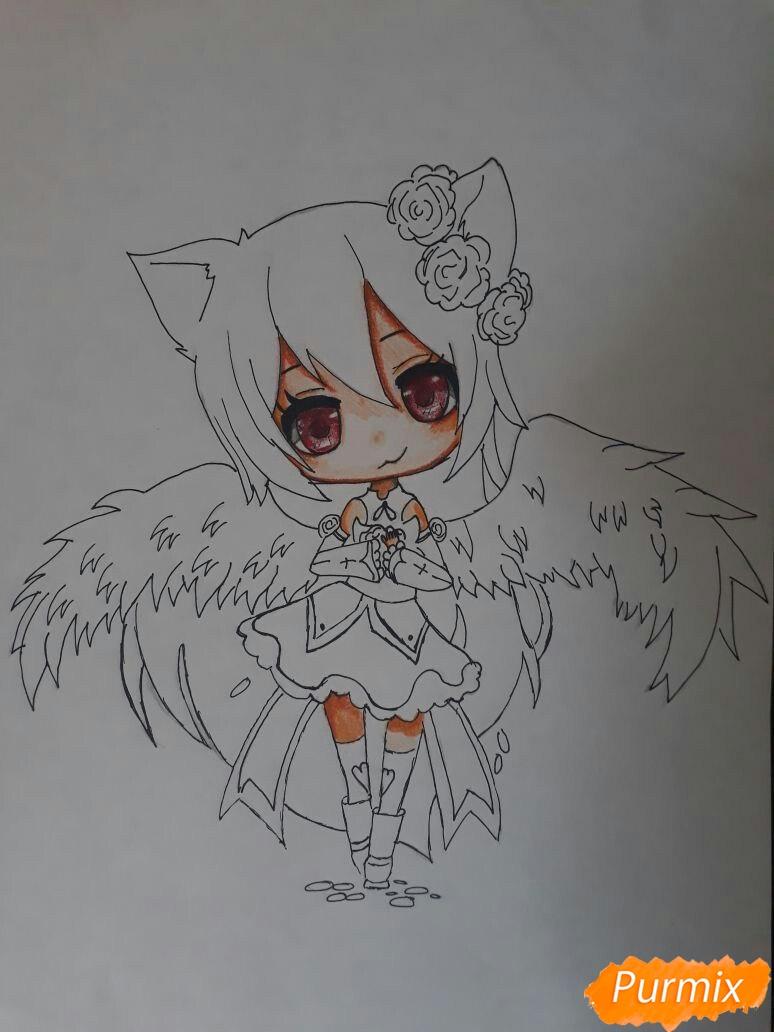 Рисуем Асуна Юки с крыльями в стиле чиби - фото 4