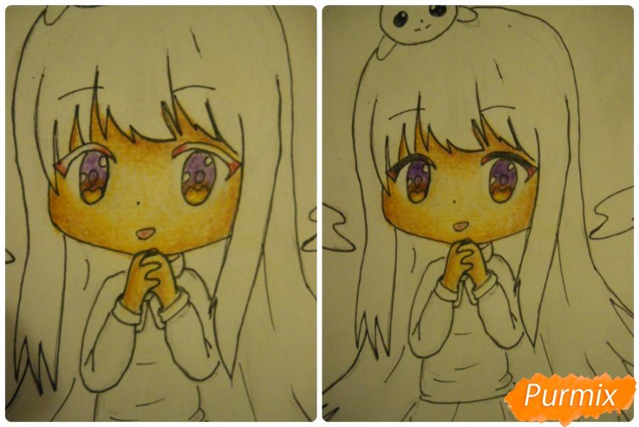 Рисуем чиби ангелочка с Пикачу на голове - шаг 11