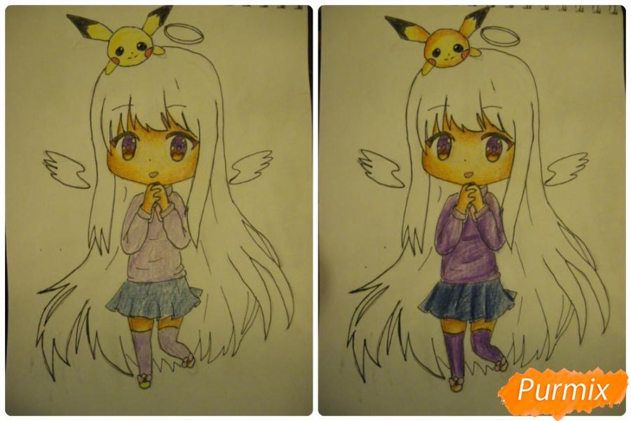 Рисуем чиби ангелочка с Пикачу на голове - шаг 12