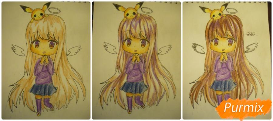 Рисуем чиби ангелочка с Пикачу на голове - шаг 13