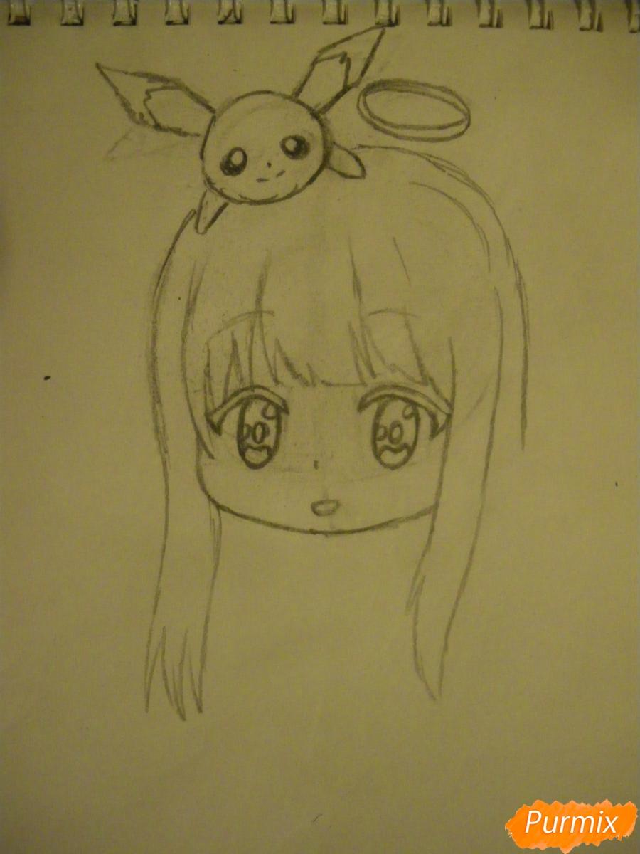 Рисуем чиби ангелочка с Пикачу на голове - шаг 4