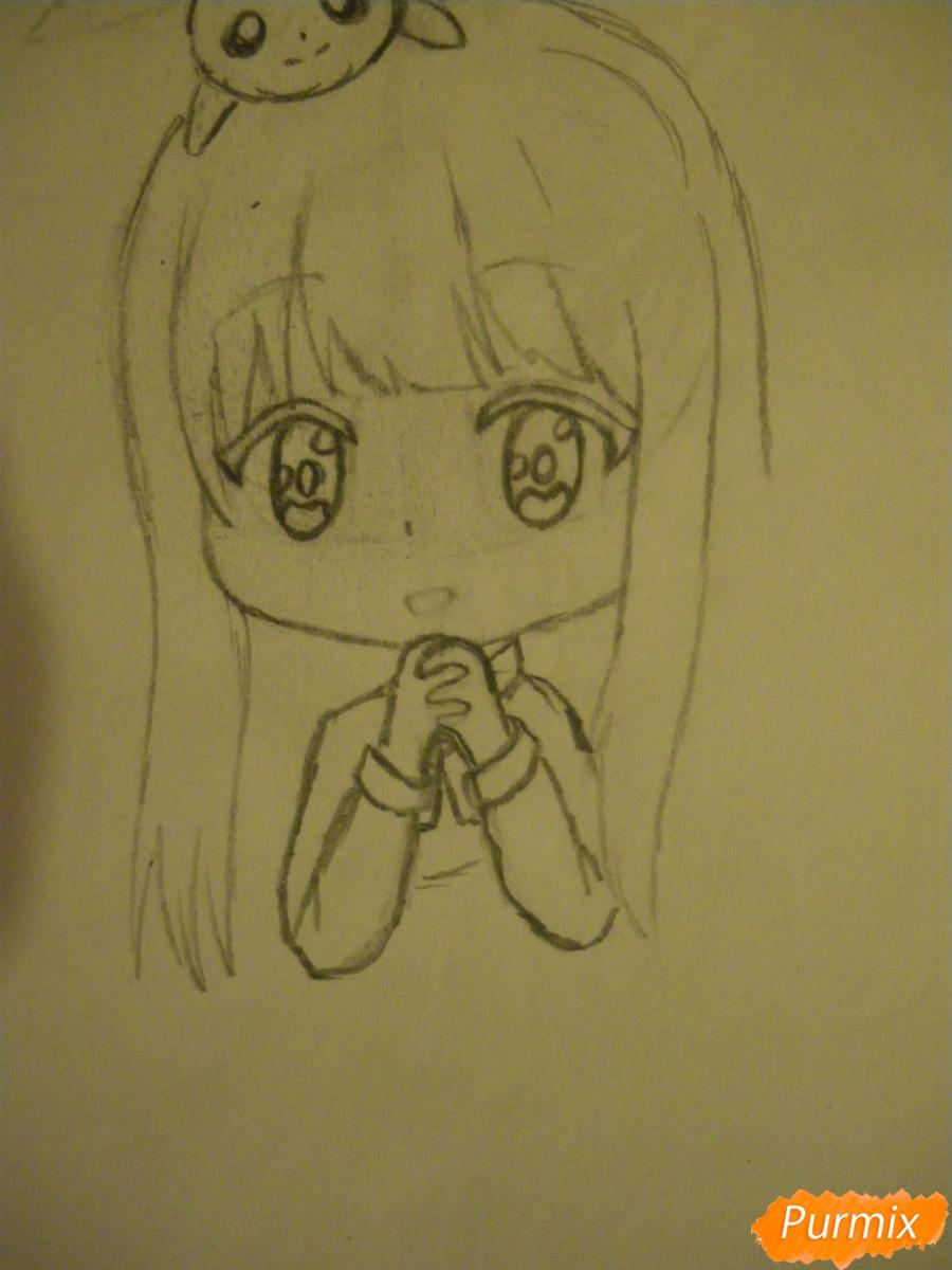 Рисуем чиби ангелочка с Пикачу на голове - шаг 5