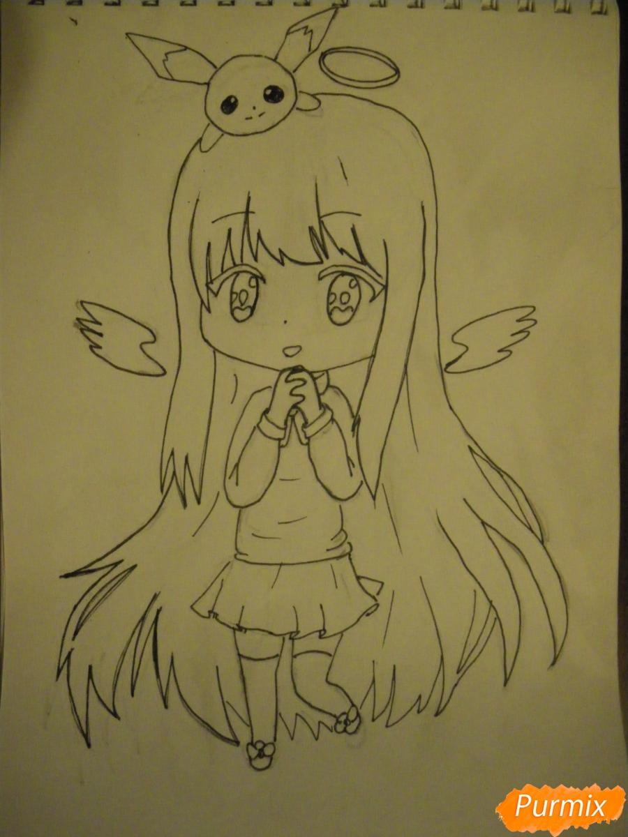 Рисуем чиби ангелочка с Пикачу на голове - шаг 9