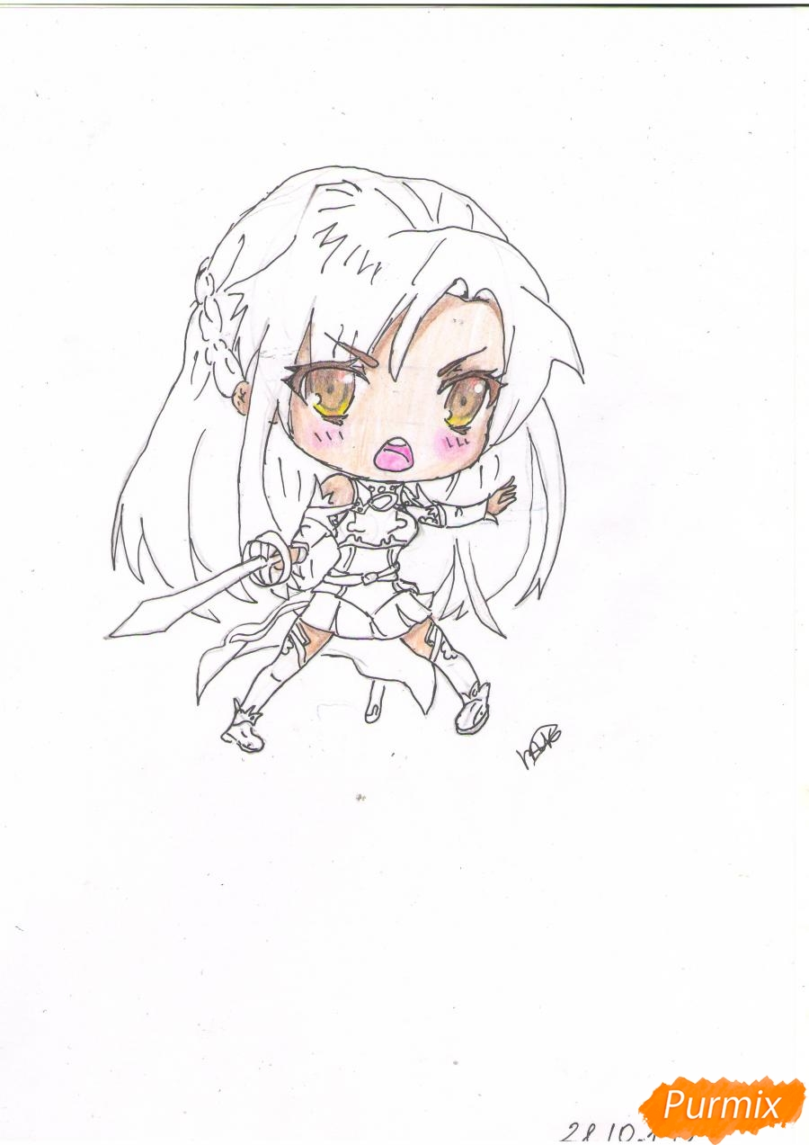 Учимся рисовать Юки Асуну из аниме Мастера меча онлайн карандашами - шаг 6