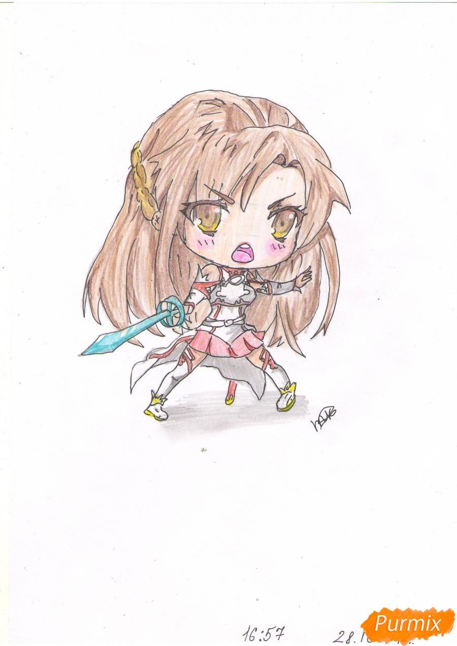 Учимся рисовать Юки Асуну из аниме Мастера меча онлайн карандашами - шаг 9