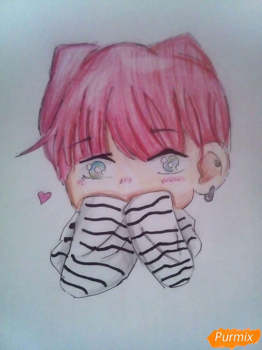 Как нарисовать милого чиби Чимина из корейской поп-групы BTS карандашами поэтапно