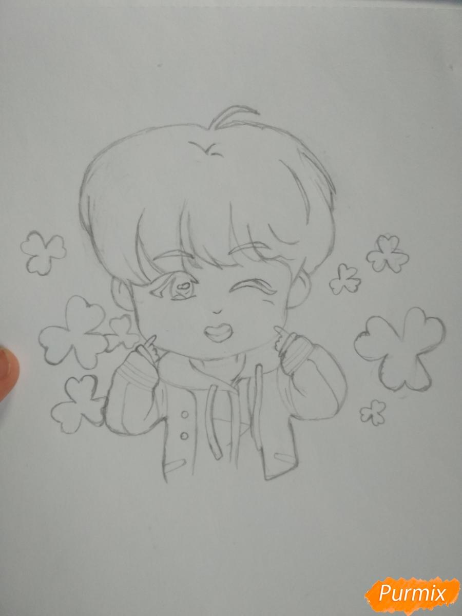 Рисуем чиби Чон Хосока BTS карандашами - шаг 6
