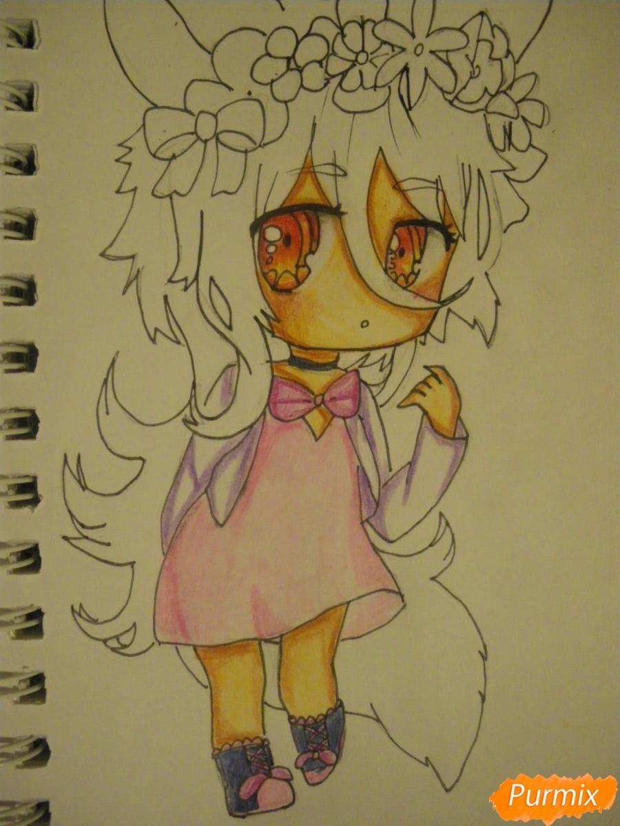 Рисуем чиби девочку неко с жёлтыми волосами - фото 11