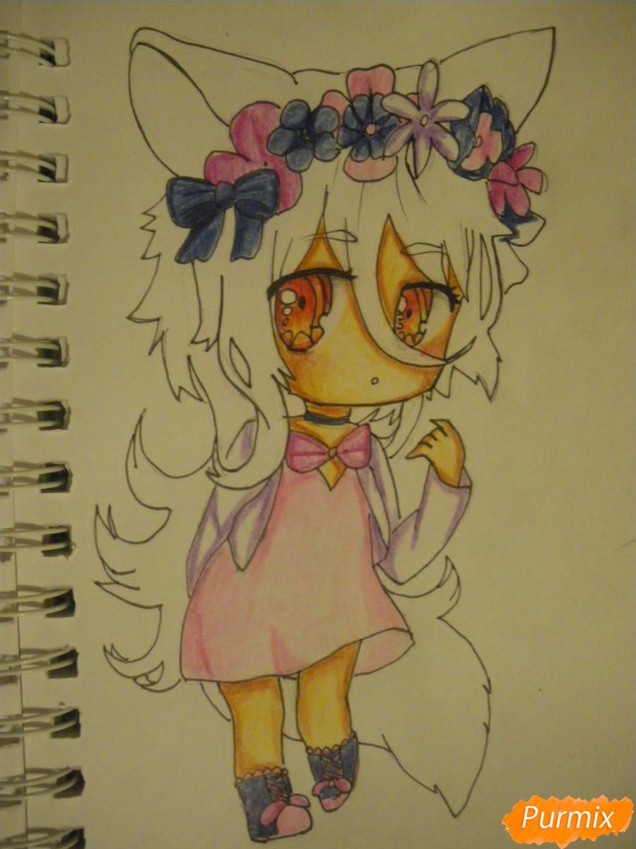 Рисуем чиби девочку неко с жёлтыми волосами - фото 12