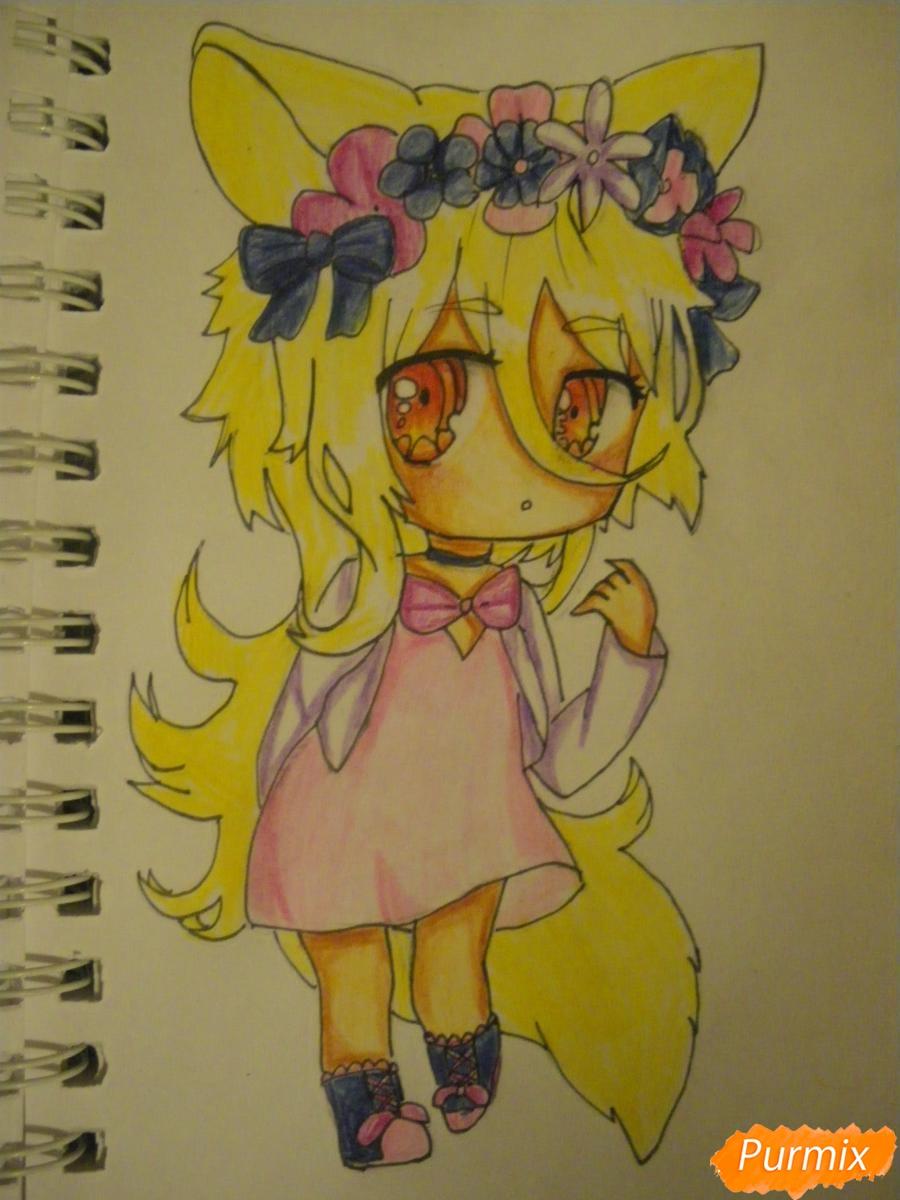 Рисуем чиби девочку неко с жёлтыми волосами - фото 13