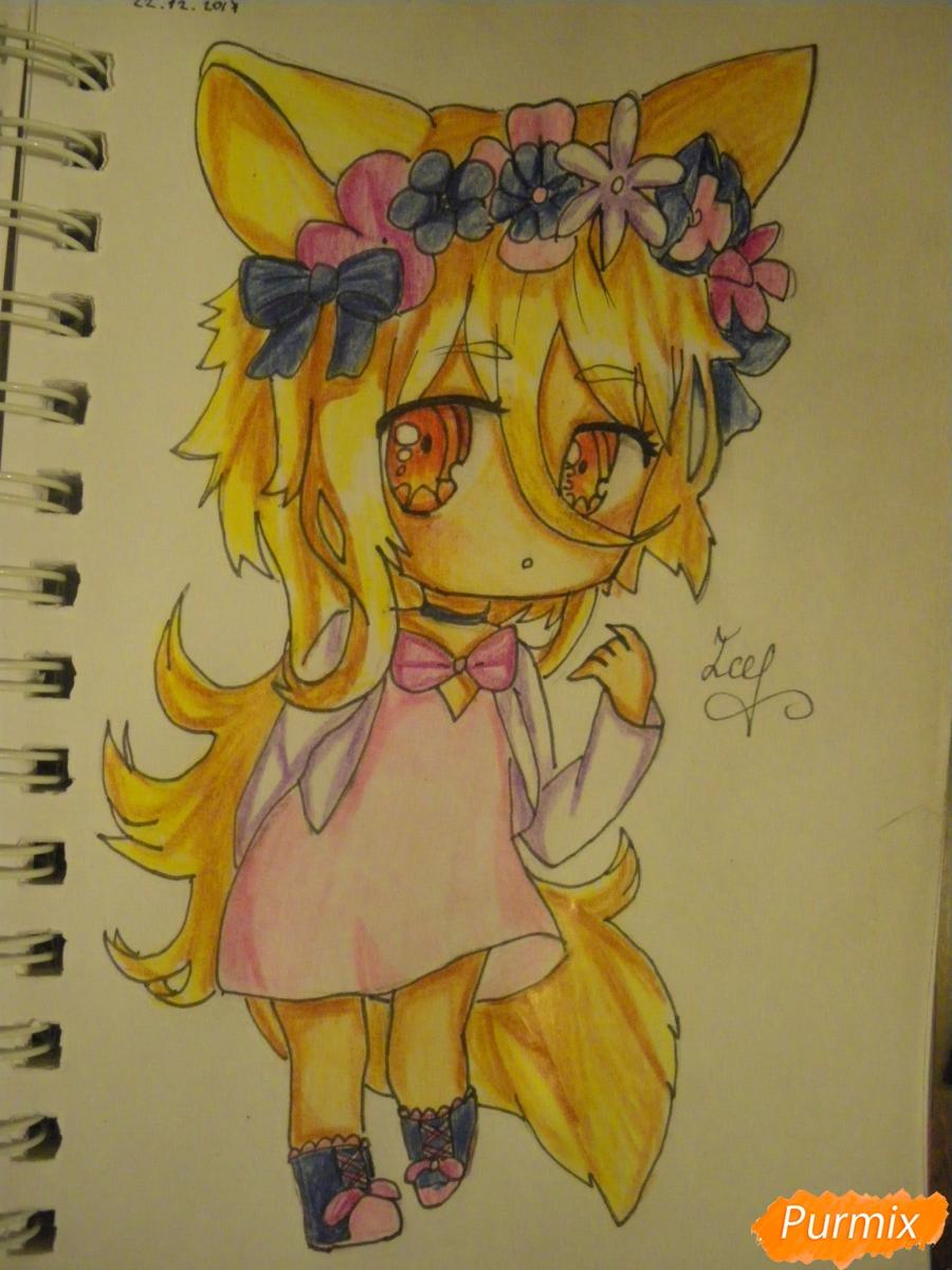 Рисуем чиби девочку неко с жёлтыми волосами - фото 14