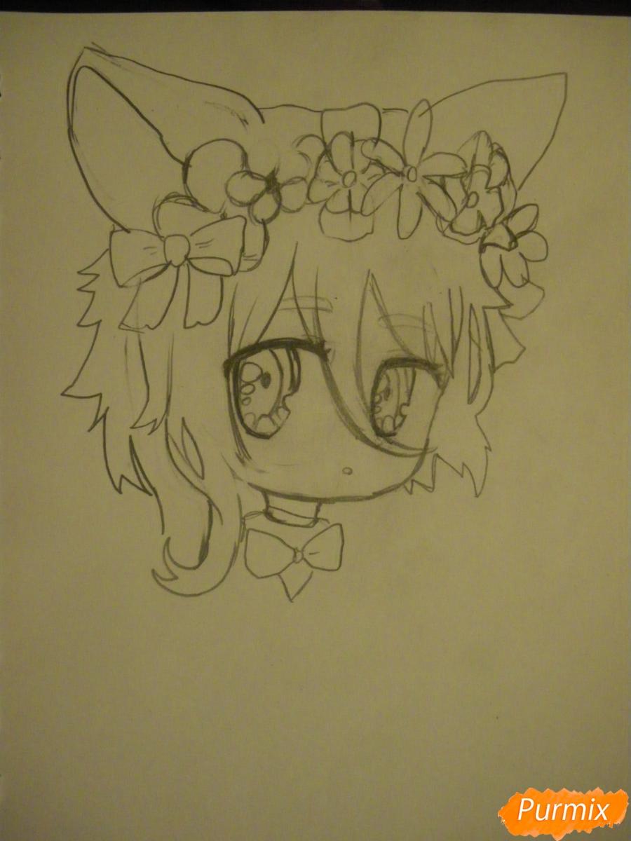 Рисуем чиби девочку неко с жёлтыми волосами - фото 5