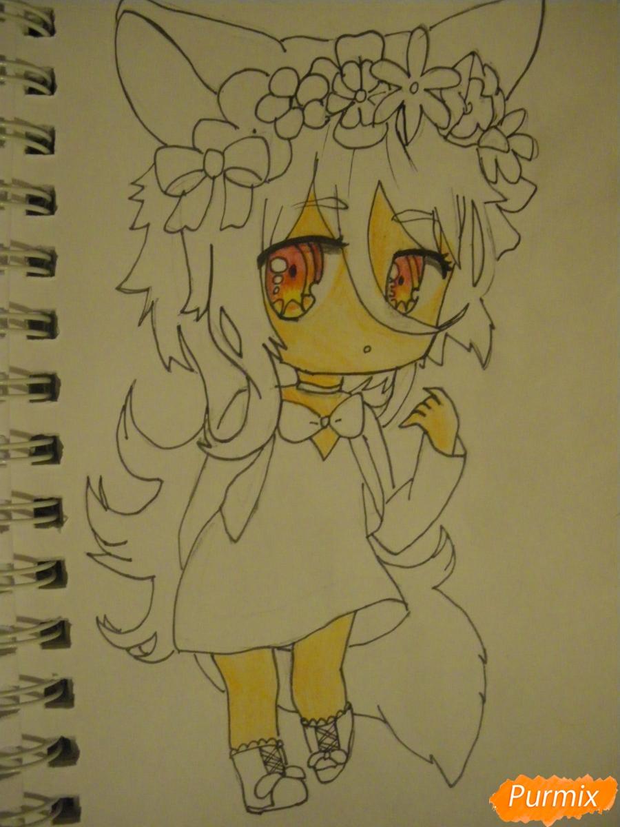Рисуем чиби девочку неко с жёлтыми волосами - фото 9