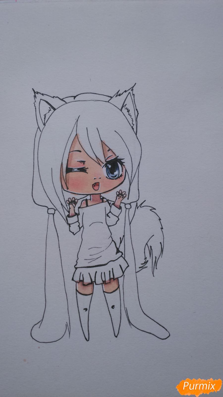 Рисуем милую чиби девочку с длинными волосами - шаг 10