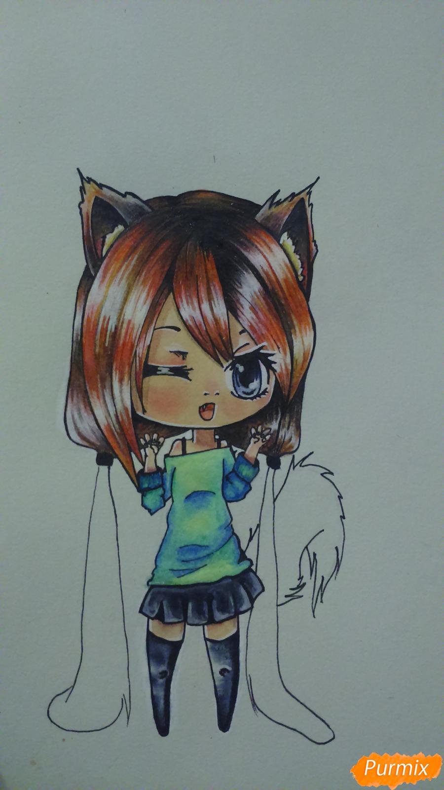 Рисуем милую чиби девочку с длинными волосами - шаг 14