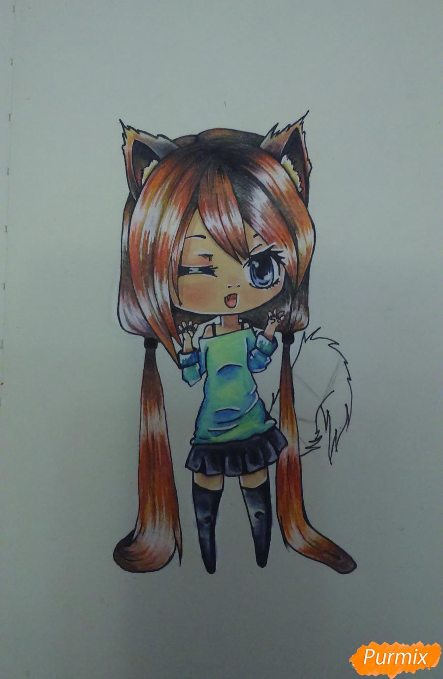 Рисуем милую чиби девочку с длинными волосами - шаг 15