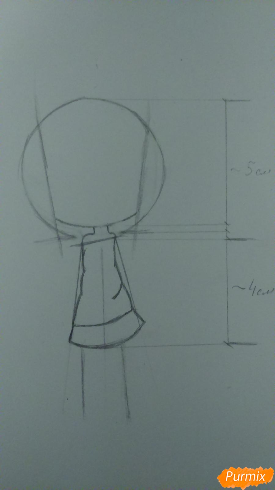 Рисуем милую чиби девочку с длинными волосами - шаг 3