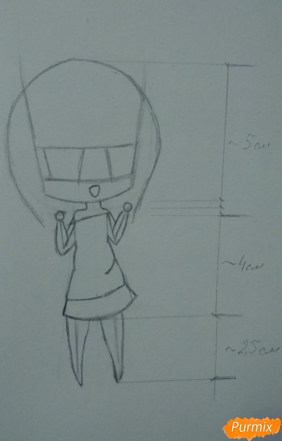 Рисуем милую чиби девочку с длинными волосами - шаг 5