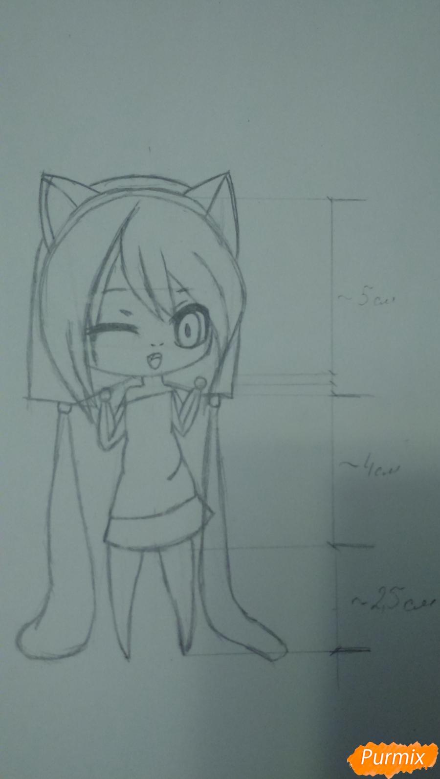 Рисуем милую чиби девочку с длинными волосами - шаг 7