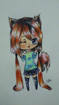 Рисунок чиби девочку с длинными волосами