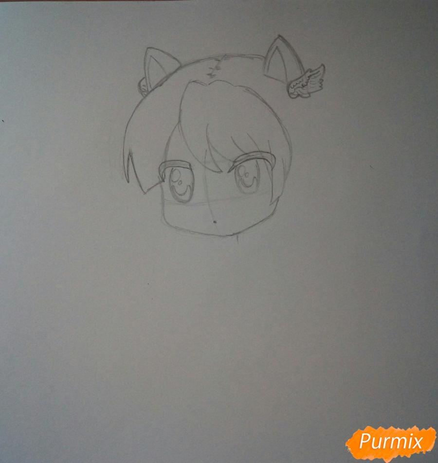 Рисуем милую чиби девочку с котиком - шаг 3