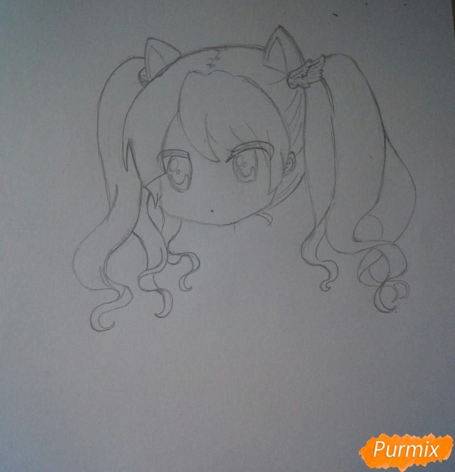 Рисуем милую чиби девочку с котиком - шаг 4