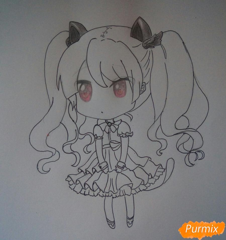 Рисуем милую чиби девочку с котиком - шаг 6