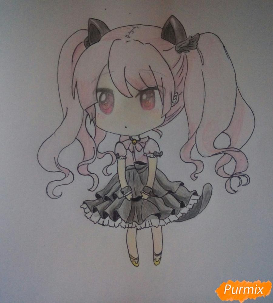 Рисуем милую чиби девочку с котиком - шаг 7