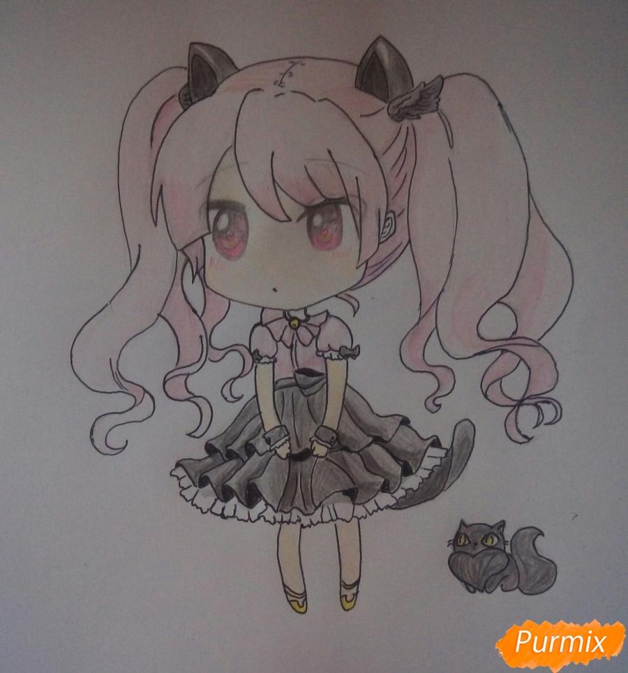 Рисуем милую чиби девочку с котиком - шаг 8