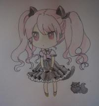 Рисунок чиби девочку с котиком