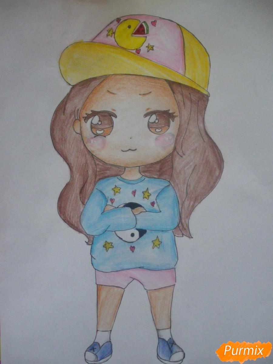 Как нарисовать чиби девочку в кепке поэтапно для начинающих