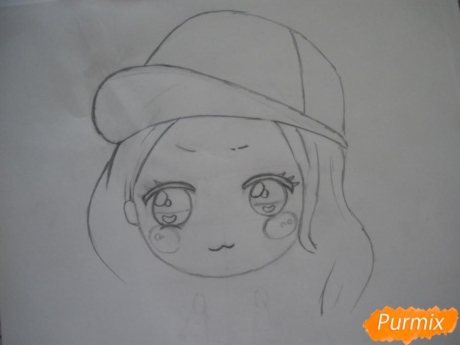 Рисуем чиби девочку в кепке  для начинающих - шаг 3