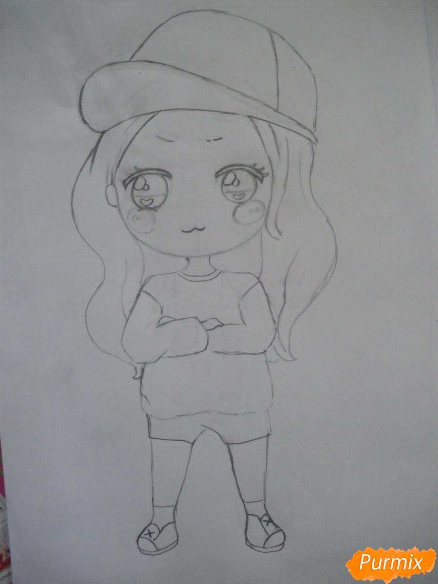 Рисуем чиби девочку в кепке  для начинающих - шаг 6