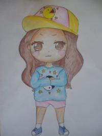 Рисунок чиби девочку в кепке