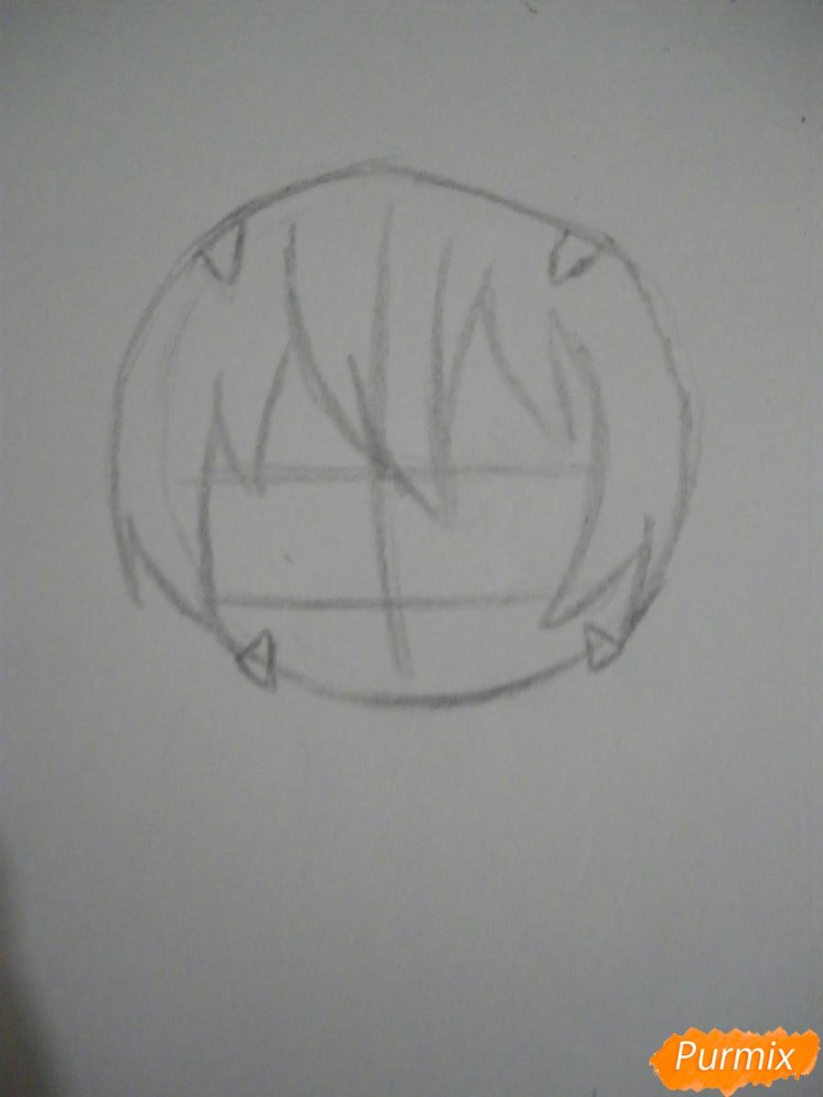 Рисуем чиби девочку в костюме тигра карандашами - шаг 1