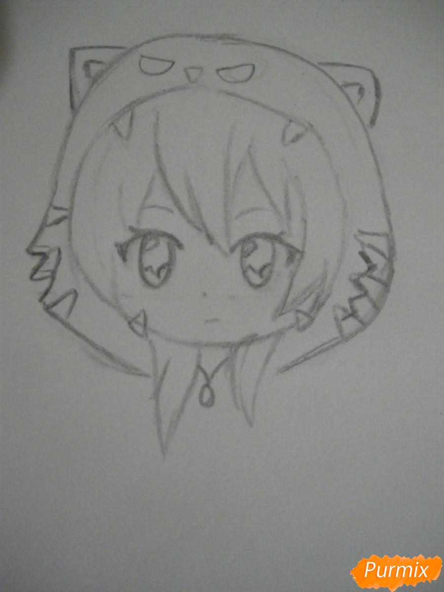 Рисуем чиби девочку в костюме тигра карандашами - шаг 3