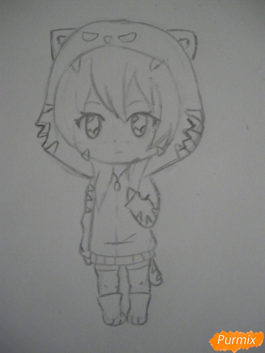 Рисуем чиби девочку в костюме тигра карандашами - шаг 5