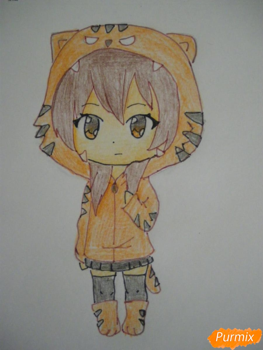 Рисуем чиби девочку в костюме тигра карандашами - шаг 7