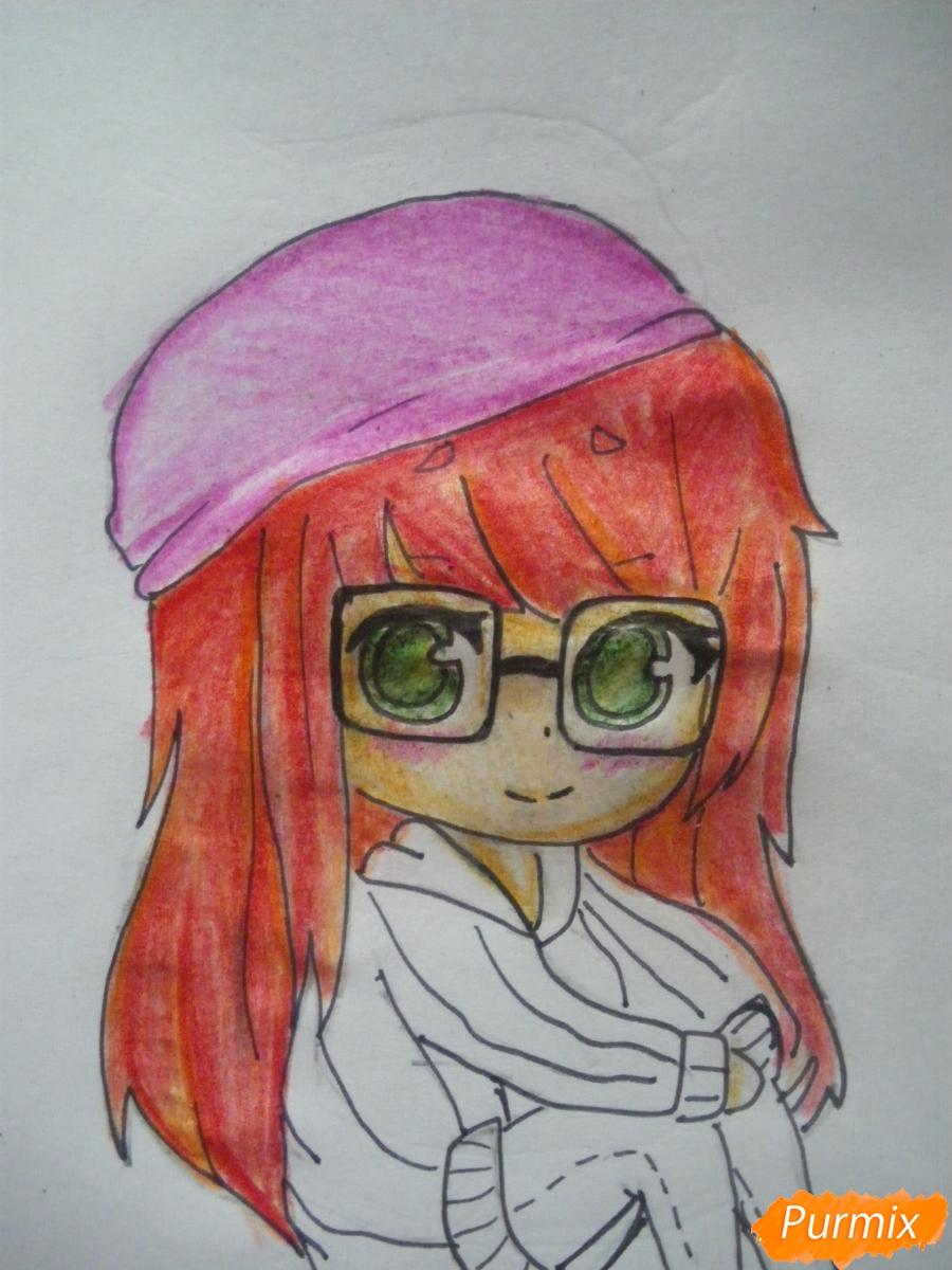 Рисуем чиби девочку в очках и шапке карандашами - фото 9