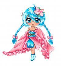 Рисунок чиби девочку-волну в юкате цветными