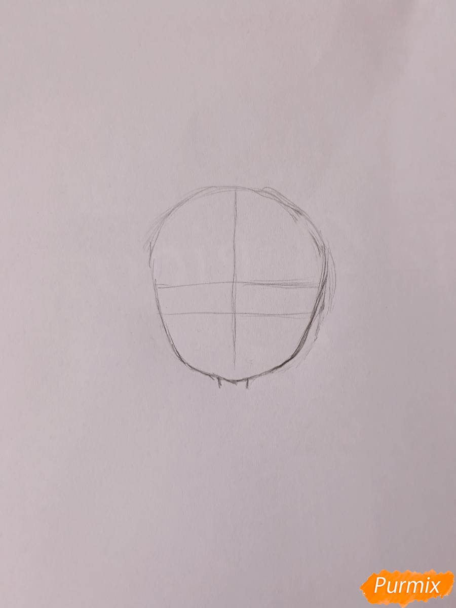 Рисуем чиби девушку-дракона цветными карандашами - шаг 1
