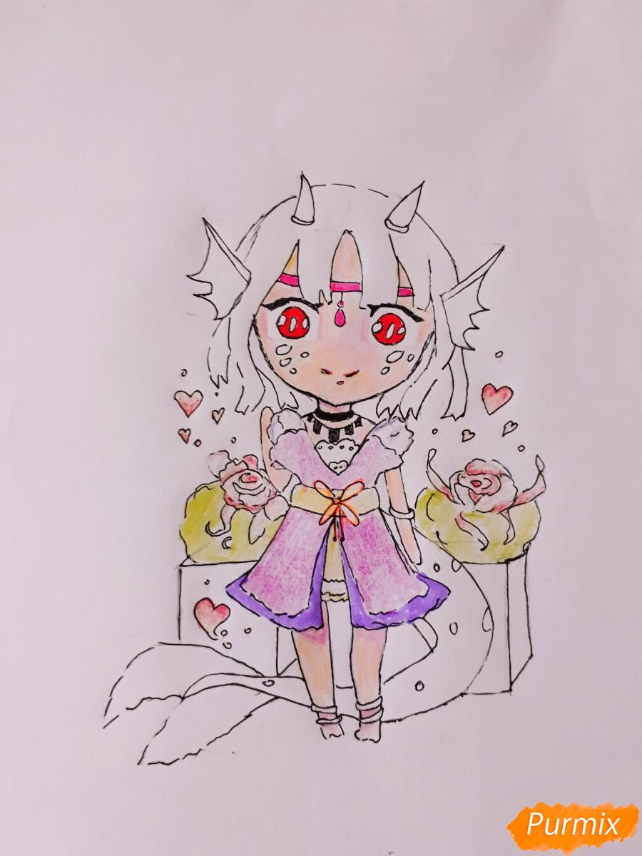 Рисуем чиби девушку-дракона цветными карандашами - шаг 10
