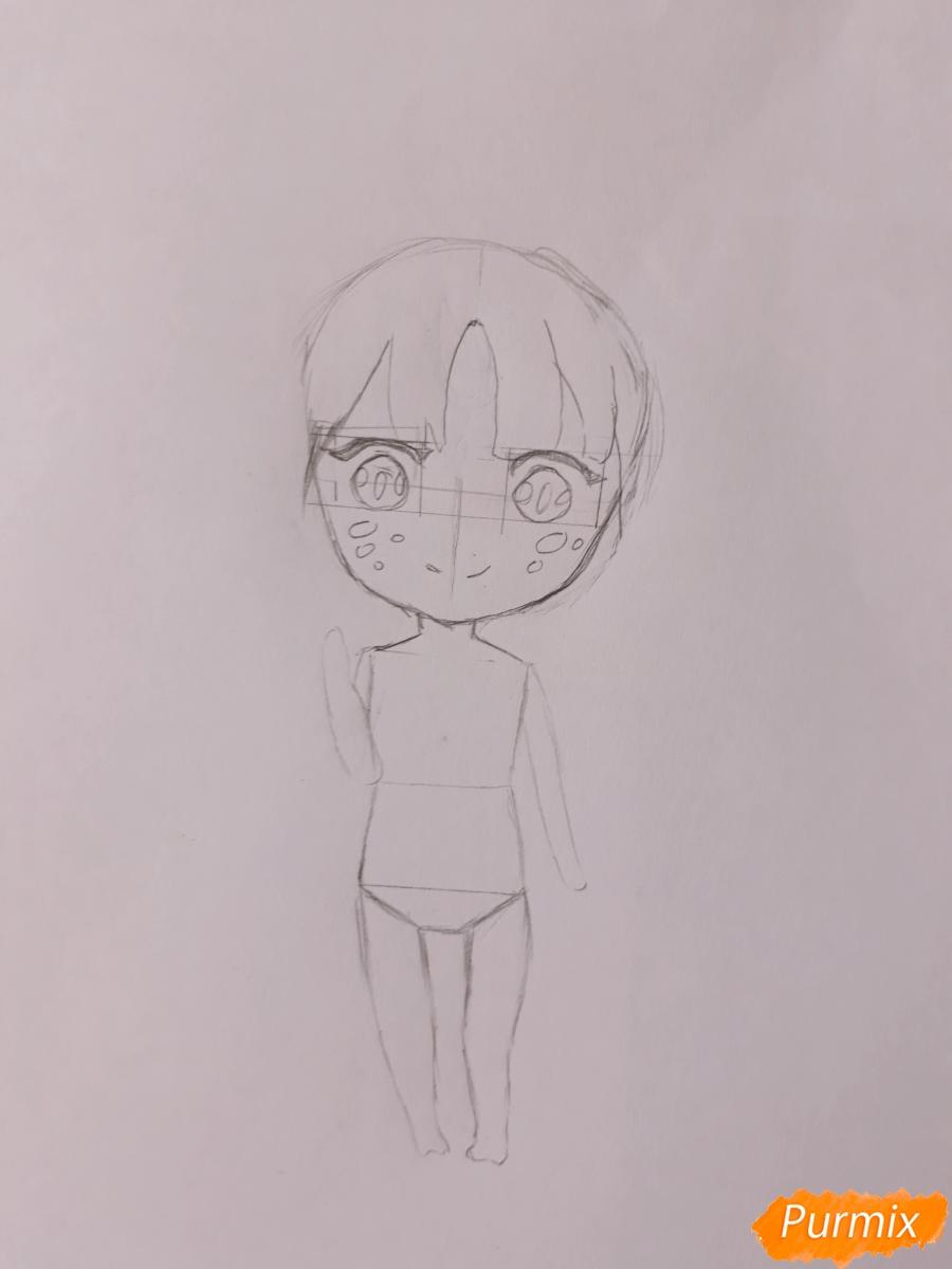 Рисуем чиби девушку-дракона цветными карандашами - шаг 4